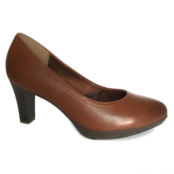 Tamaris brun skind pump